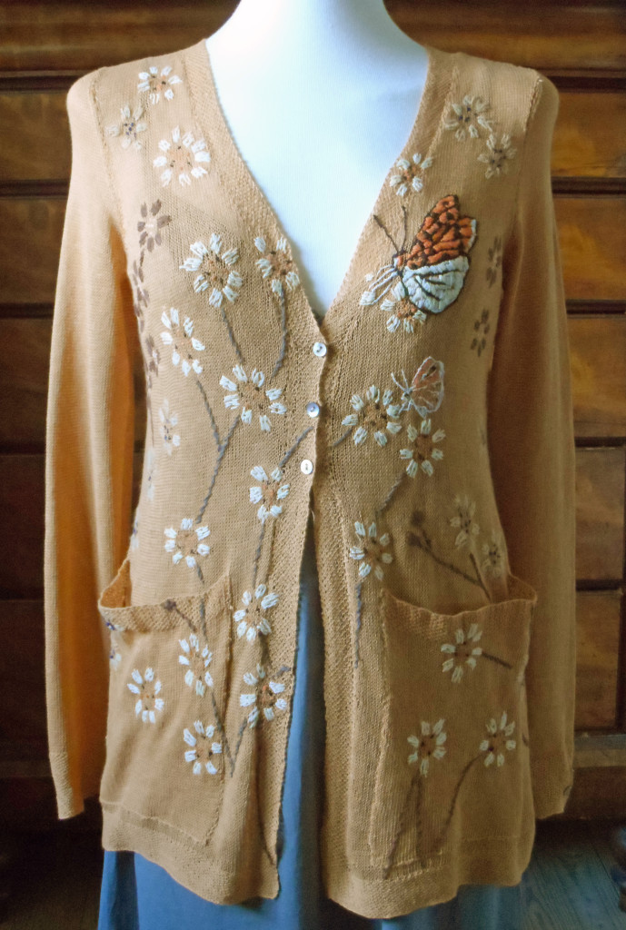 fritilliary embroidery long flared cardigan in soft orange pima cotton