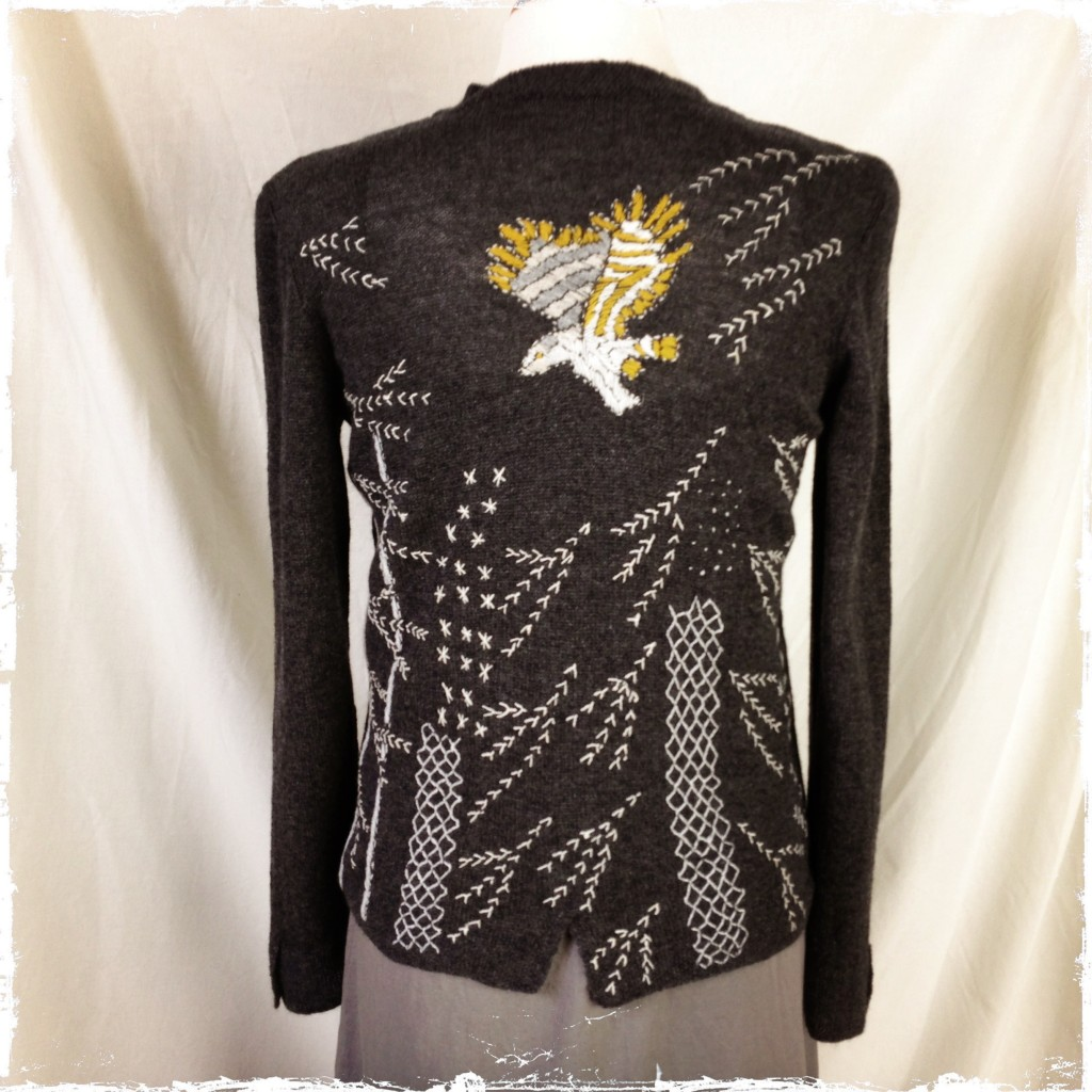 owl on cashmere vee cardigan charcoal back view