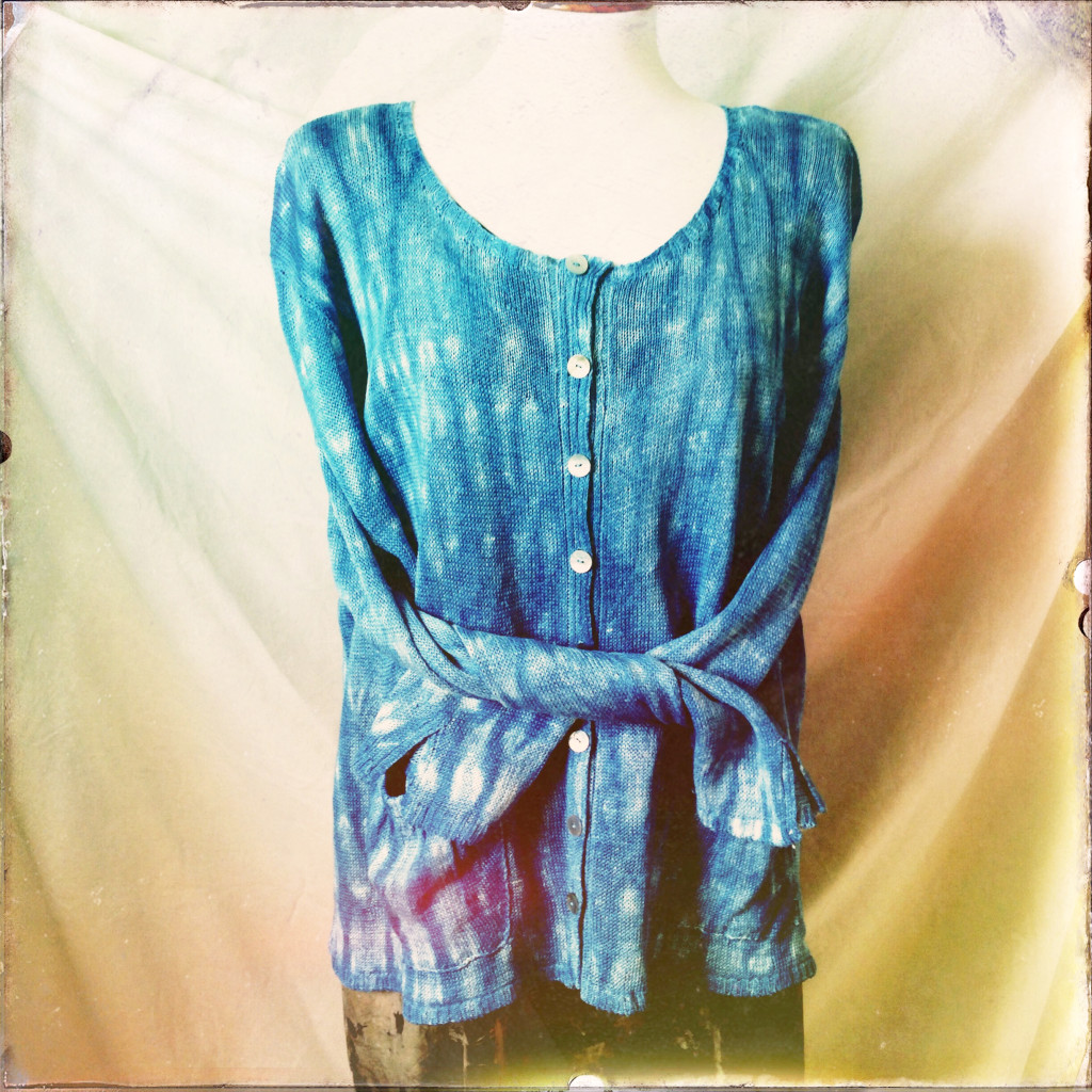 linen loose pocketed cardigan shibori dyed with indigo