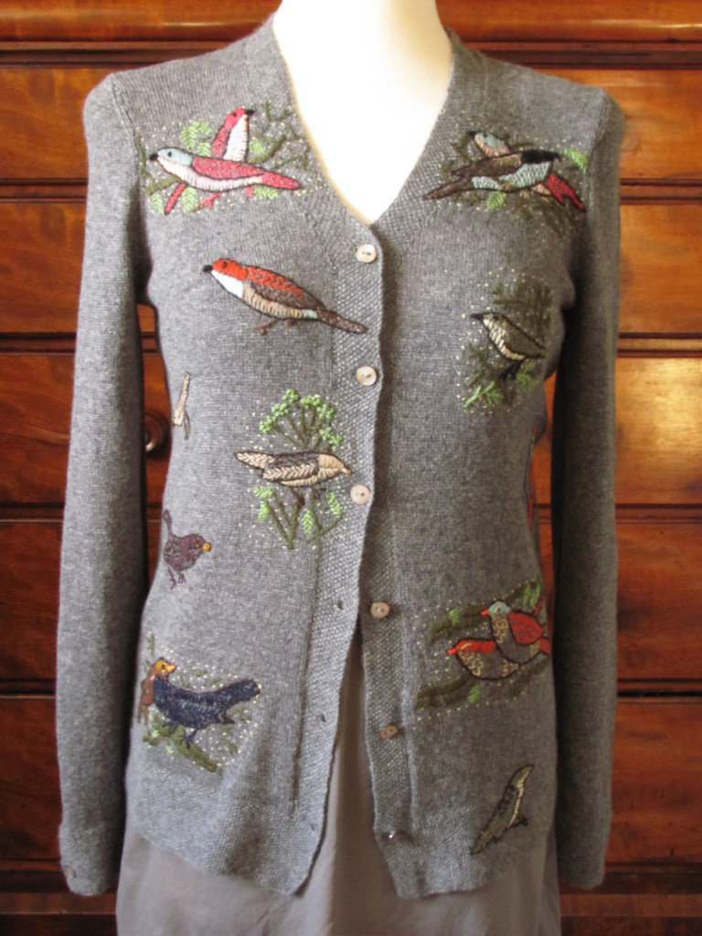 birds embroidery long vee cardigan in mid grey cashmere
